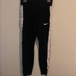 Nike Black Leggings White Stripe